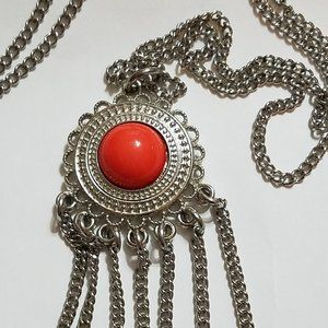 Vintage Sterling Necklace With Coral Pendent